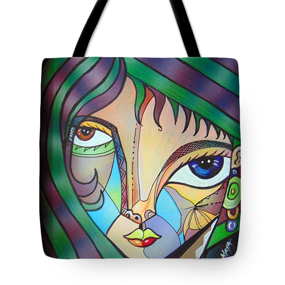 Portrait. Cubism Pop Woman Face Art Deco Tote Bag featuring the photograph Regina by Ricardo Maya