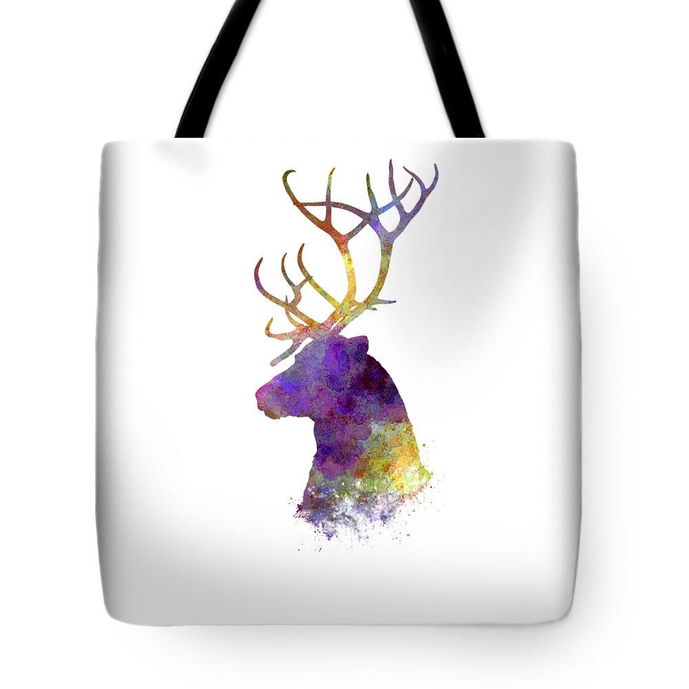 Reindeer Tote Bag featuring the painting Reindeer 01 In Watercolor by Pablo Romero