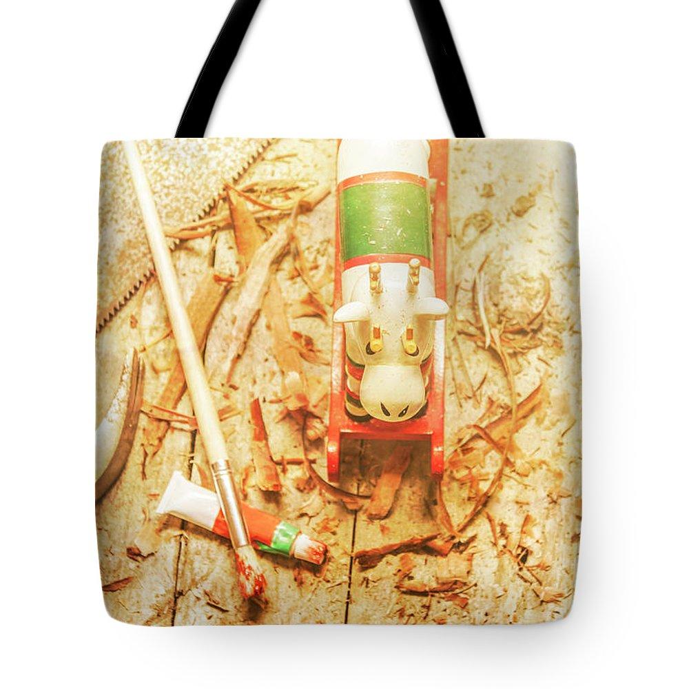 Reindeer With Tools And Wood Shavings Tote Bag