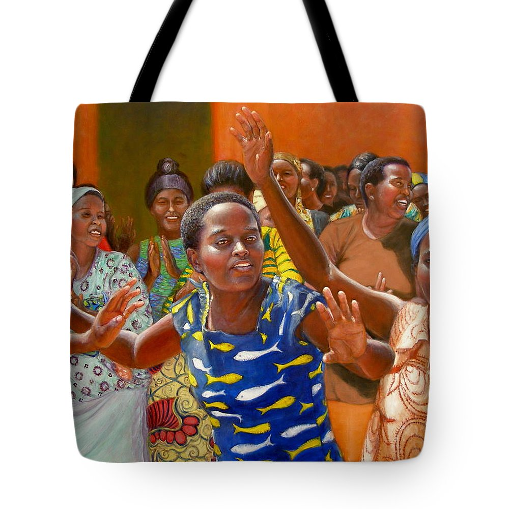Realism Tote Bag featuring the painting Rejoice by Donelli DiMaria
