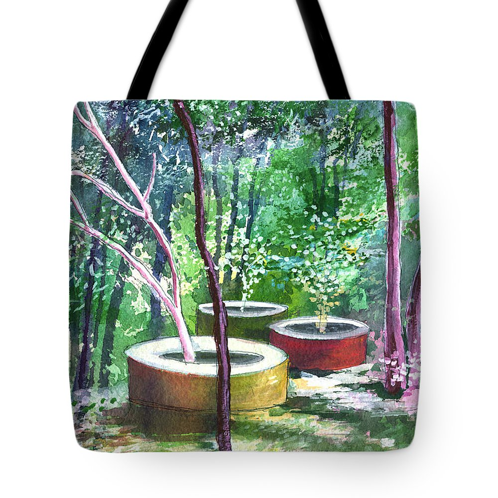 Opaque Landscape Tote Bag featuring the painting Relax Here by Anil Nene