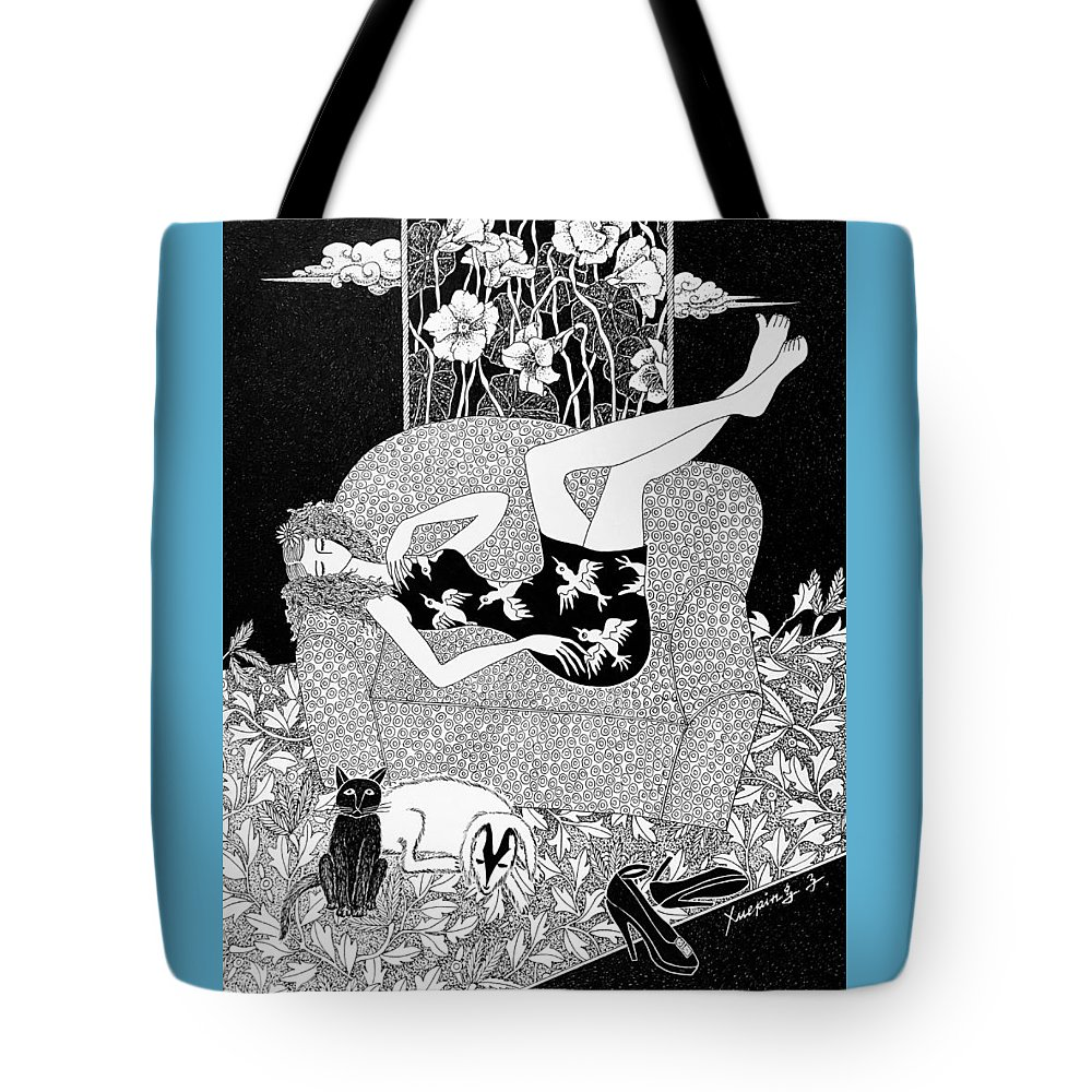 Figurative Art Tote Bag featuring the drawing Relaxing #3 by Xueping Zhang