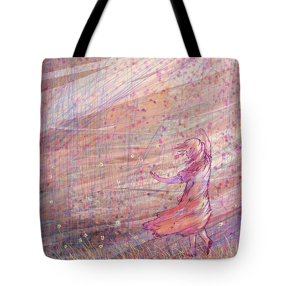 Abstract Tote Bag featuring the digital art Releasing The Daisies by William Russell Nowicki
