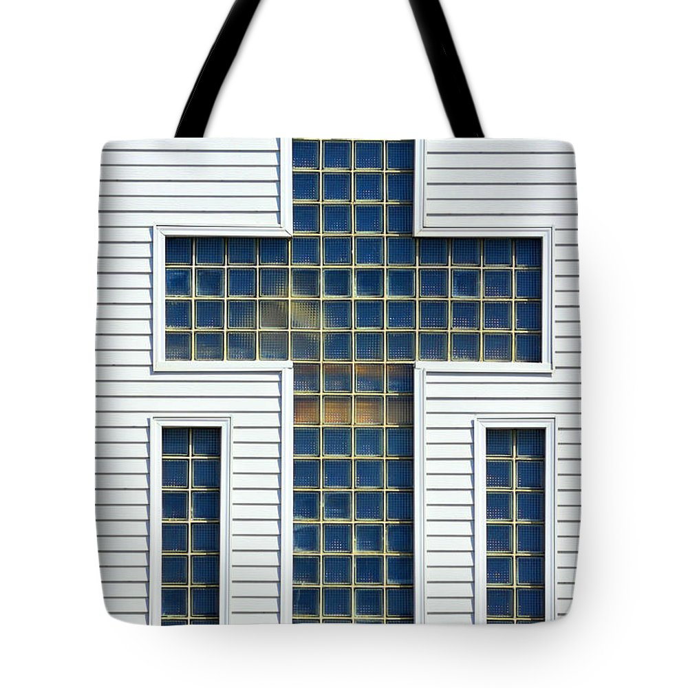 Cross Tote Bag featuring the photograph Religion Window Cross by Donald Erickson