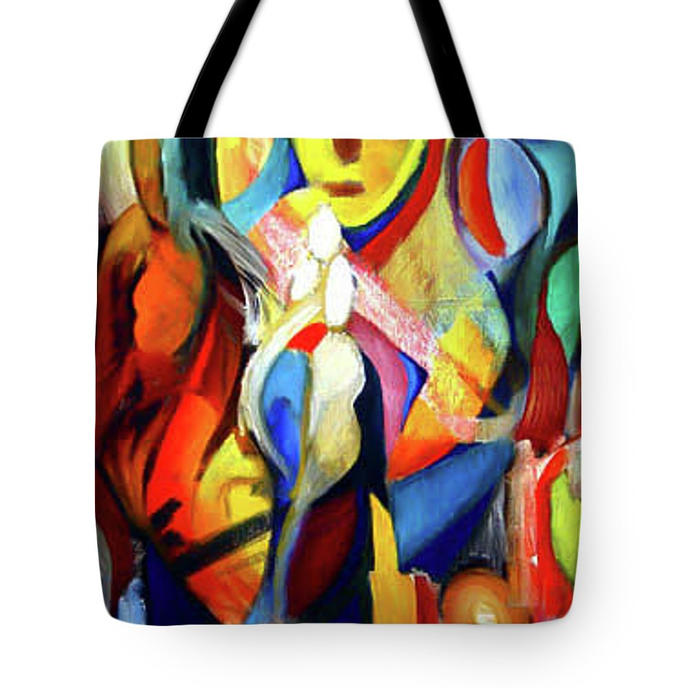 Abstract Tote Bag featuring the painting Religious Interpretation by Robert Gravelin