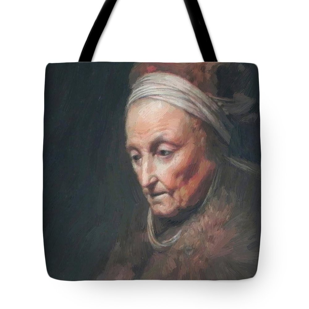 Rembrandt Tote Bag featuring the painting Rembrandt Mother by Dou Gerrit