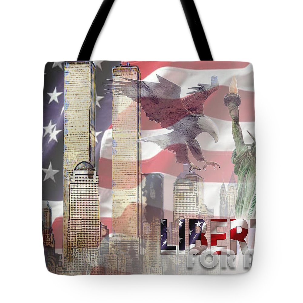 9/11 Tote Bag featuring the digital art Remembering 9-ll by Arline Wagner