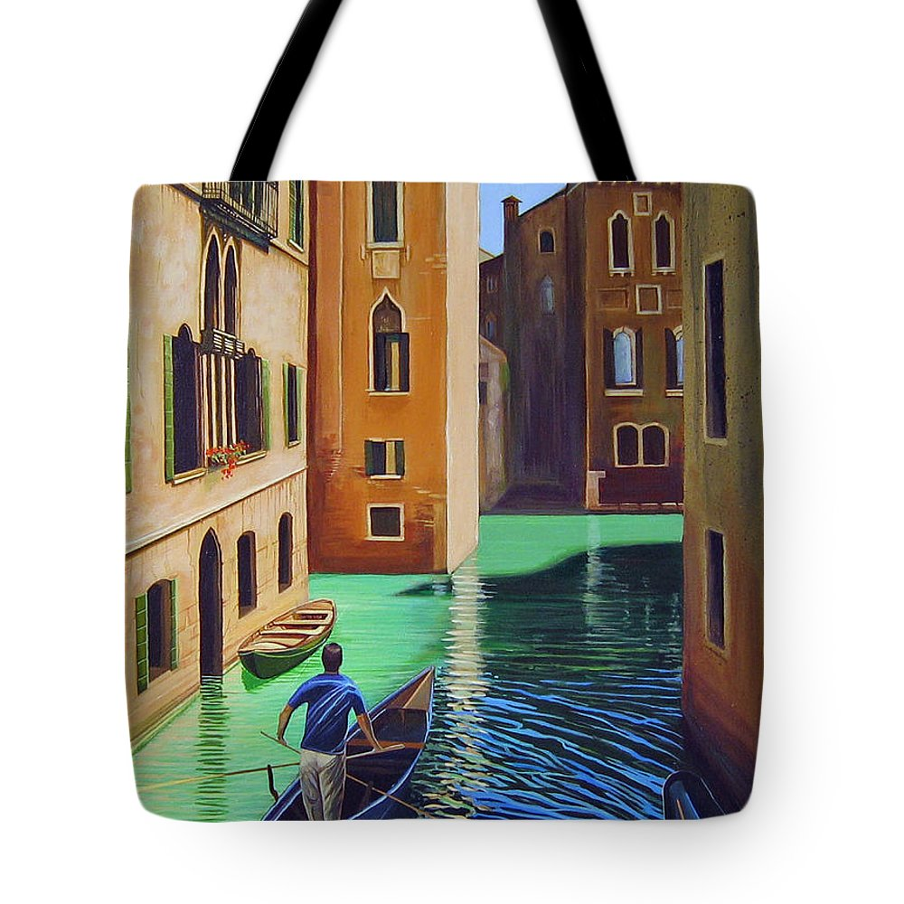 Canal In Venice Tote Bag featuring the painting Remembering Venice by Hunter Jay
