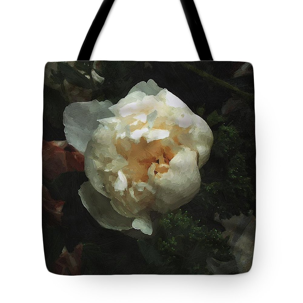 Flower Tote Bag featuring the painting Remembrance In White by RC DeWinter