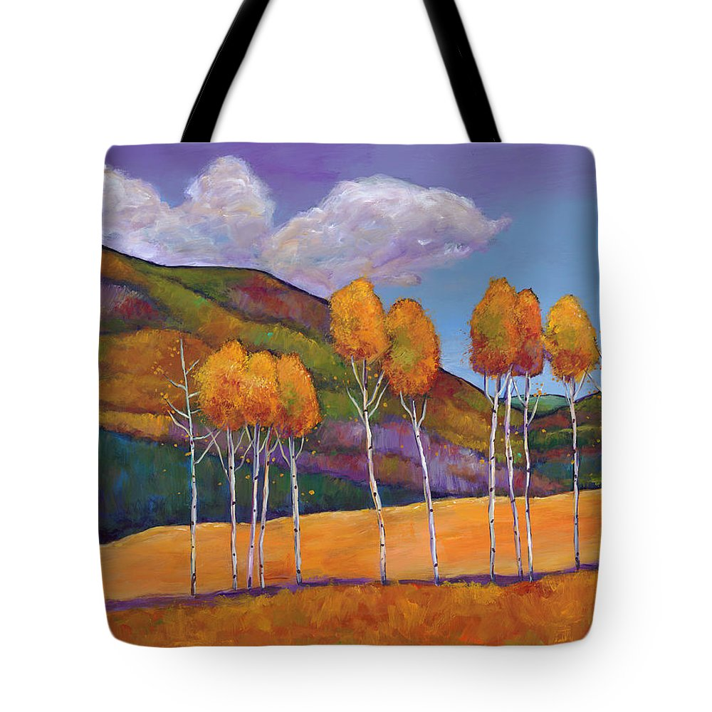 Autumn Aspen Tote Bag featuring the painting Reminiscing by Johnathan Harris