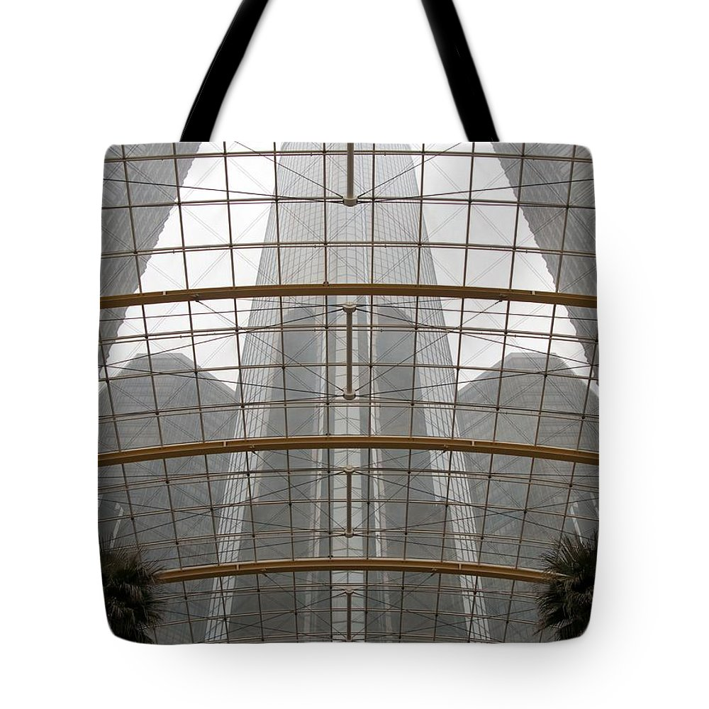 Detroit Tote Bag featuring the photograph Rencen From Within by Ann Horn