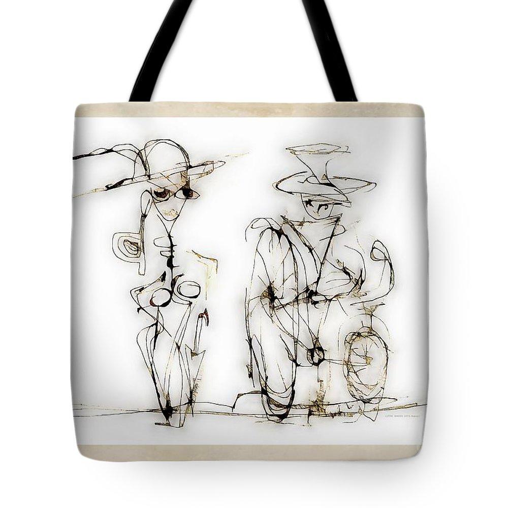 Abstraction Tote Bag featuring the digital art Rendezvous 4016 by Marek Lutek