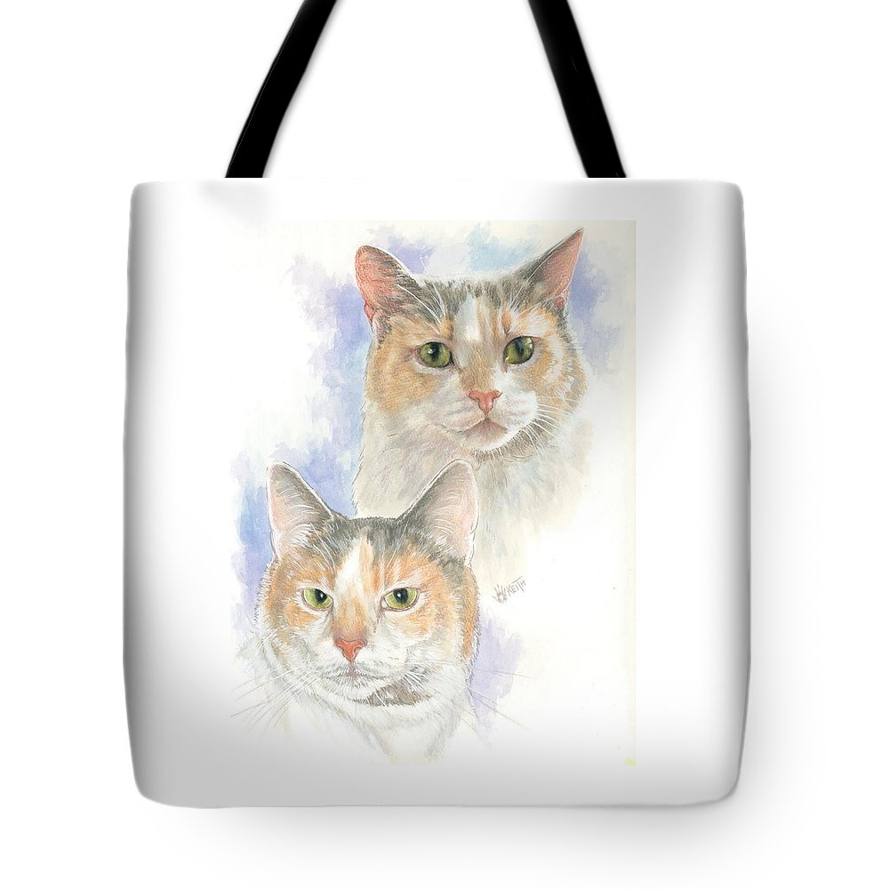 Domestic Cat Tote Bag featuring the mixed media Reno by Barbara Keith