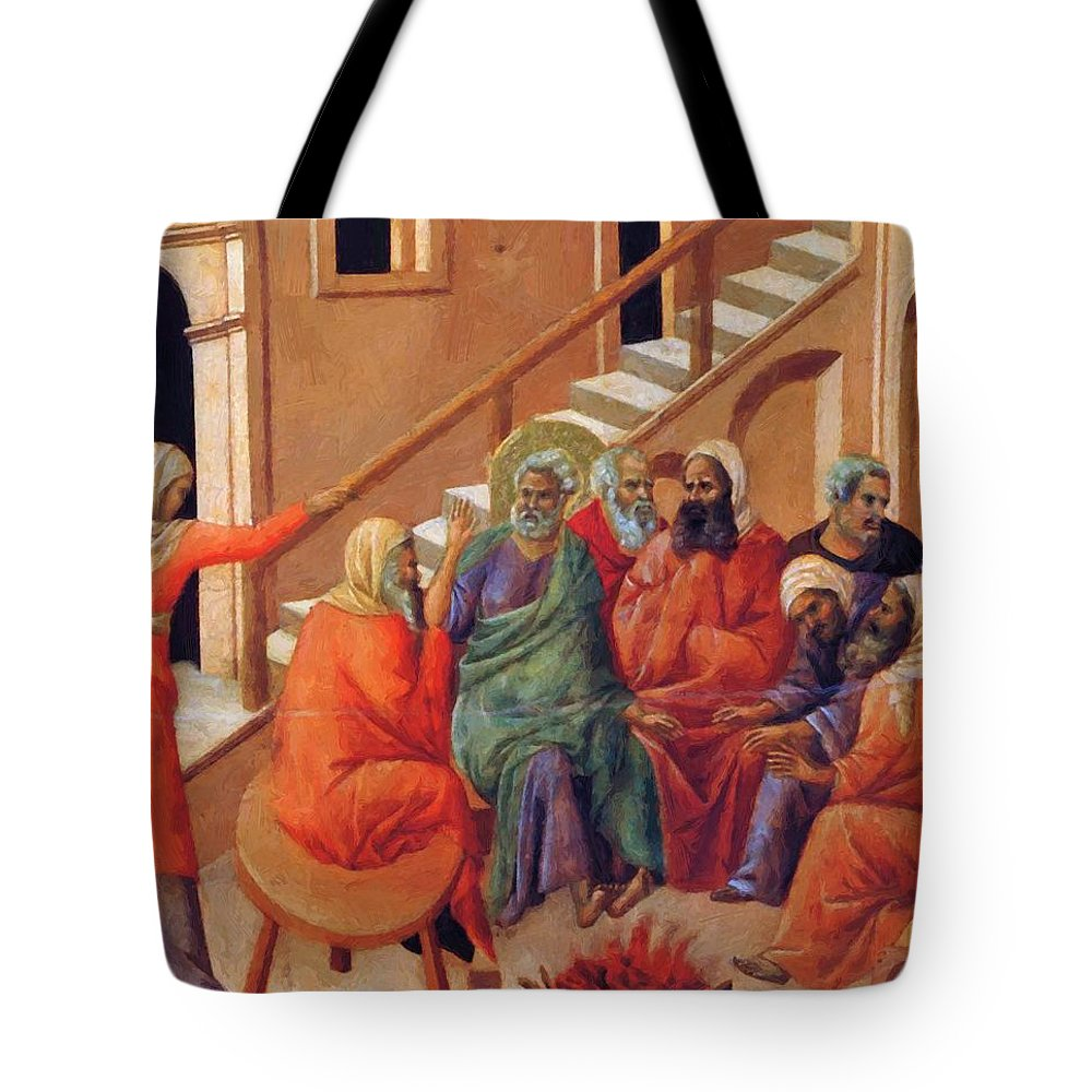 Renunciation Tote Bag featuring the painting Renunciation Of Peter 1311 by Duccio
