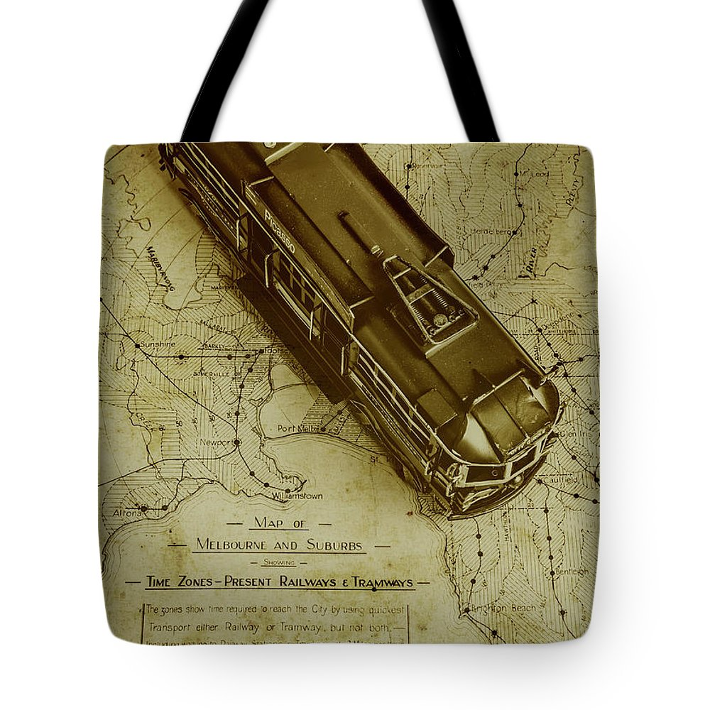Vintage Tote Bag featuring the photograph Replicating Past Tram Transit by Jorgo Photography - Wall Art Gallery