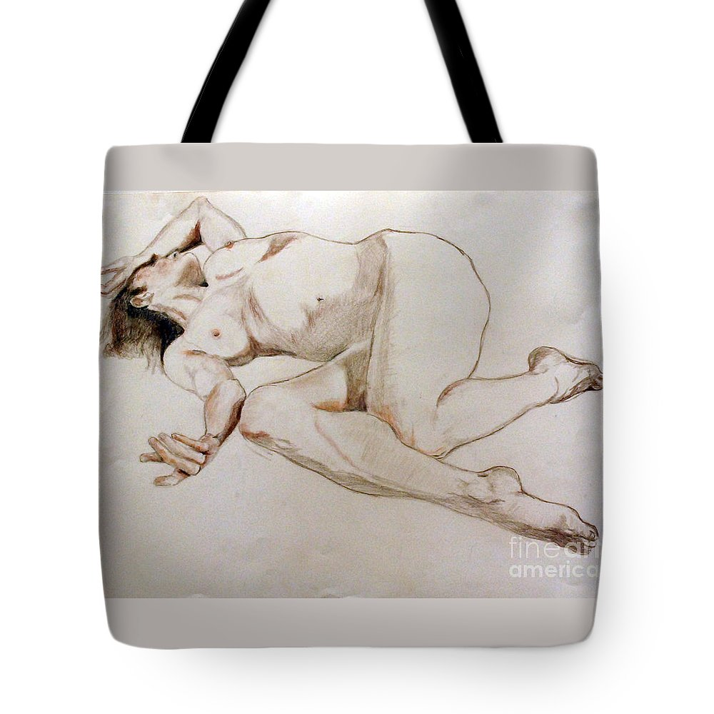 Laying Tote Bag featuring the drawing Repose by Lori Moon