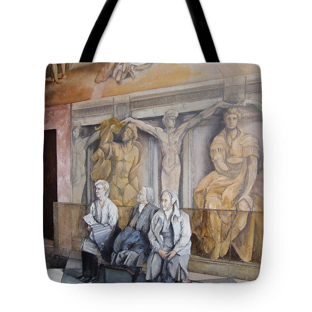 Vaticano Tote Bag featuring the painting Reposo En El Vaticano by Tomas Castano