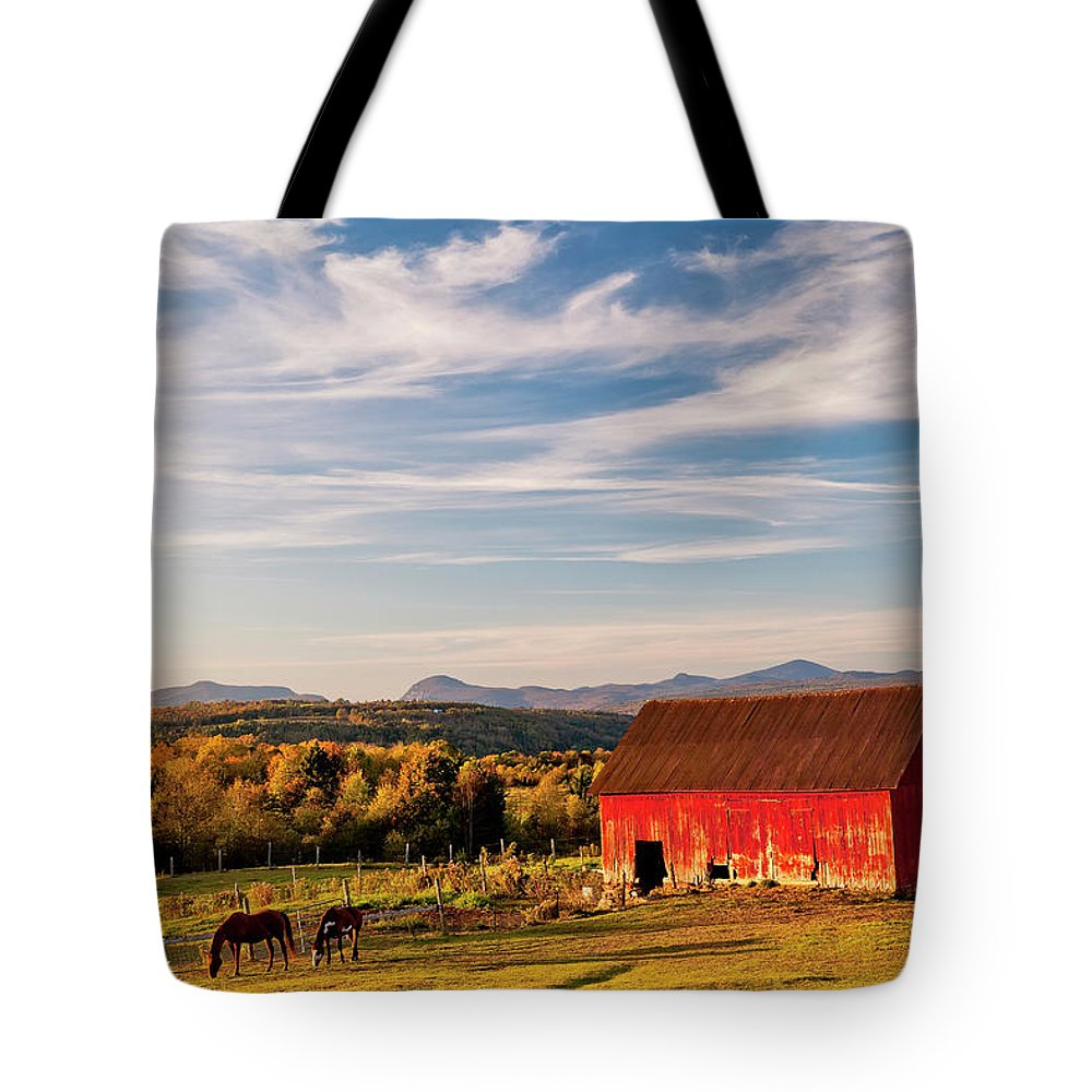 Autumn Tote Bag featuring the photograph Red Barn Autumn Landscape by Alan L Graham