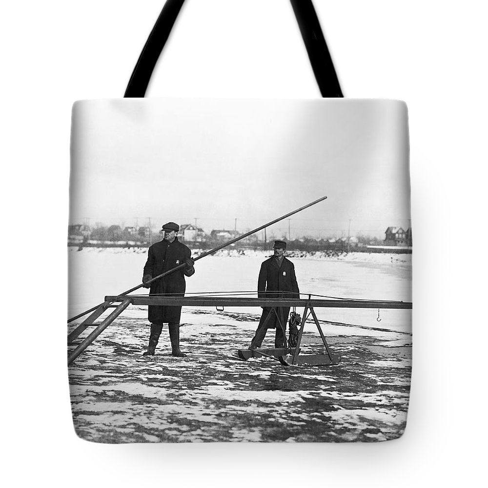 1910s Tote Bag featuring the photograph Rescue For Skating On Thin Ice by Underwood Archives