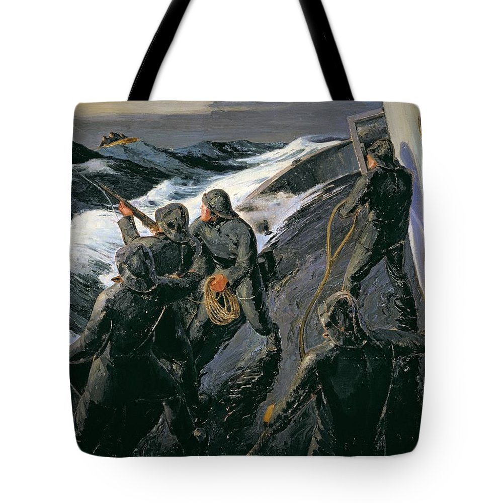 Rescue - Firing A Costen Gun Line (oil On Canvas) By Thomas Harold Beament (1898-1985) Tote Bag featuring the painting Rescue by Thomas Harold Beament