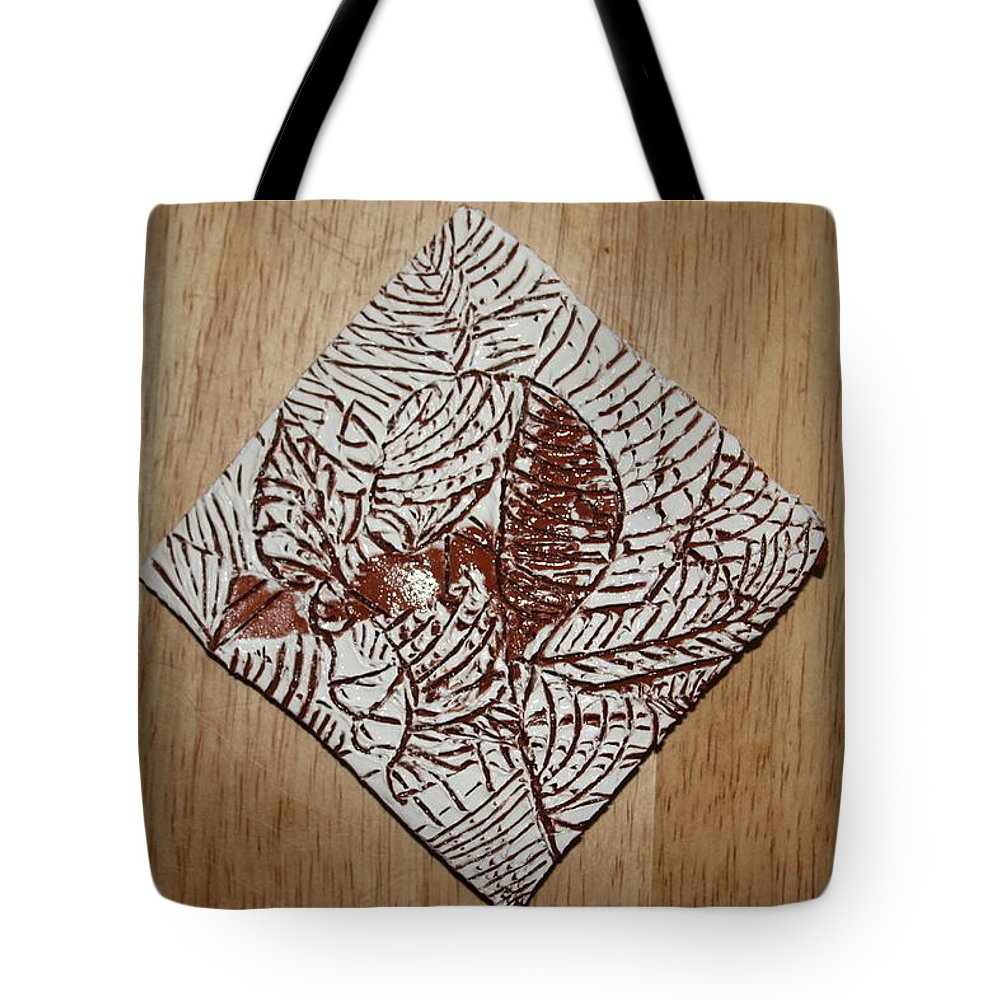 Jesus Tote Bag featuring the ceramic art Responses - Tile by Gloria Ssali