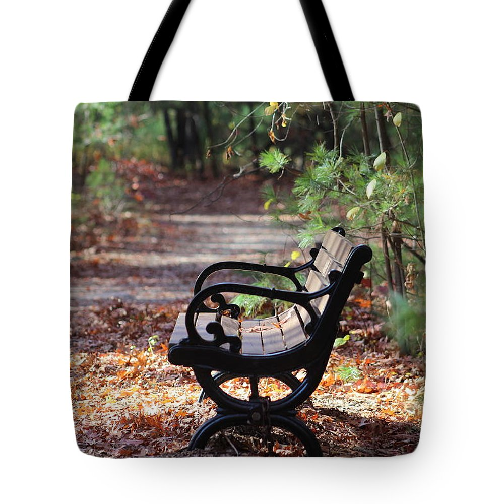 Bench Tote Bag featuring the photograph Rest A While by Kathleen Moore Lutz