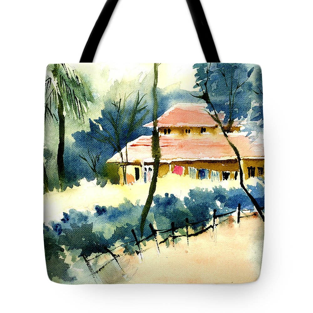 Landscape Tote Bag featuring the painting Rest House by Anil Nene