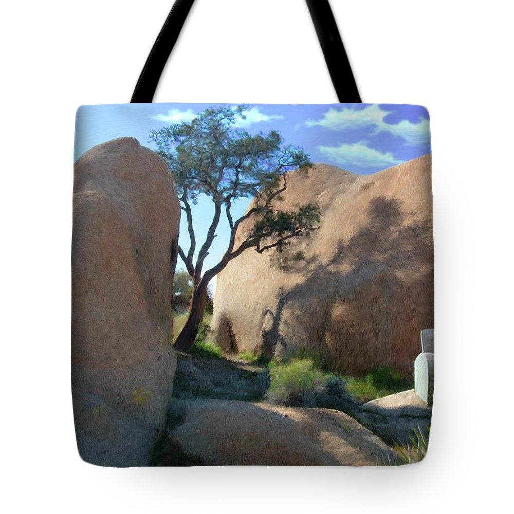 Desert Tote Bag featuring the digital art Rest Stop by Snake Jagger