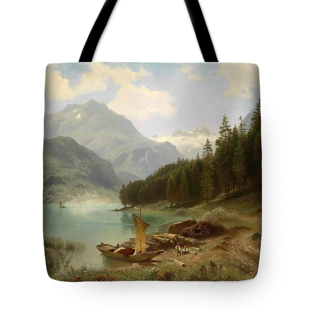 August Friedrich Kessler Tote Bag featuring the painting Resting By The Mountain Lake by August Friedrich Kessler