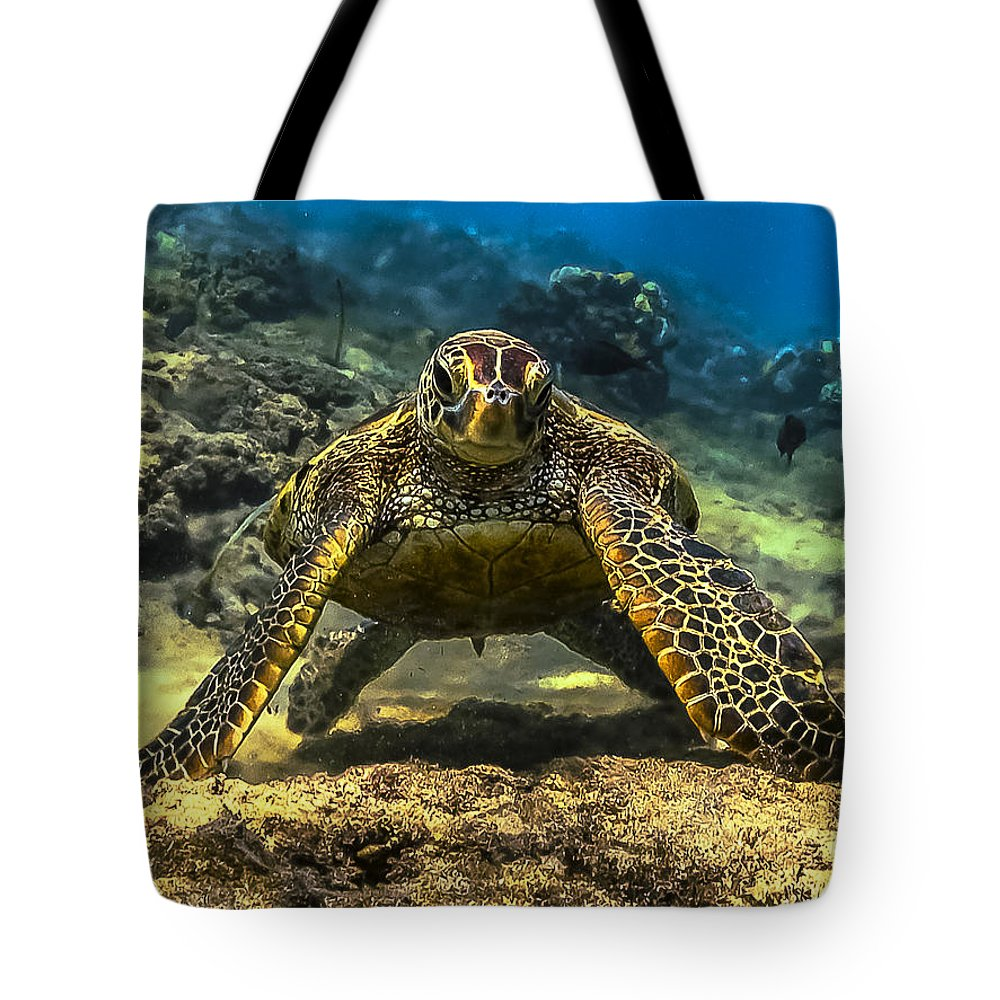 Honu Tote Bag featuring the photograph Resting Honu by Quintan White