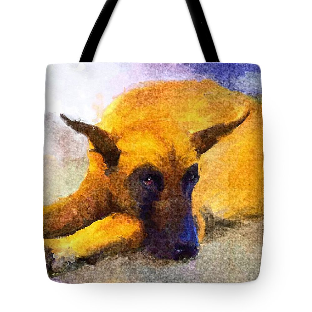 Great Dane Tote Bag featuring the painting Resting by Jai Johnson