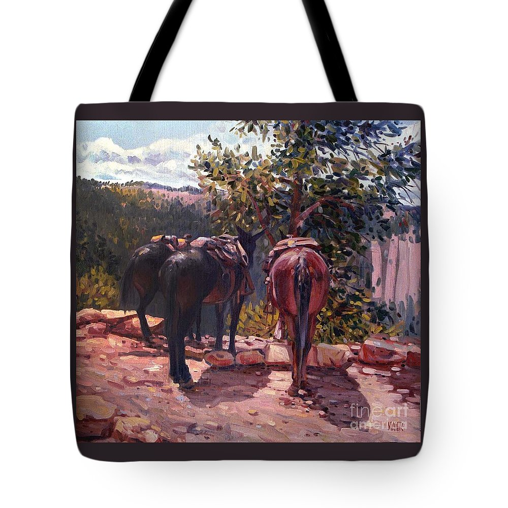 Mules Tote Bag featuring the painting Resting on the Kaibab Trail by Donald Maier