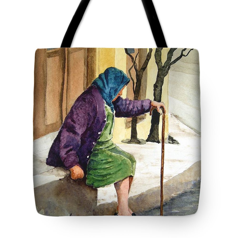 Old Lady Tote Bag featuring the painting Resting by Sam Sidders