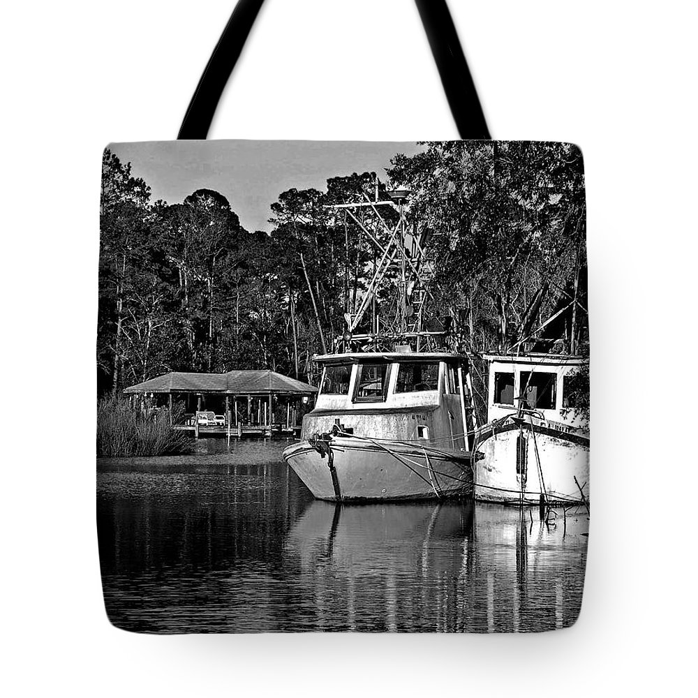 Shrimp Boat Tote Bag featuring the painting Resting Shrimp Boats by Michael Thomas
