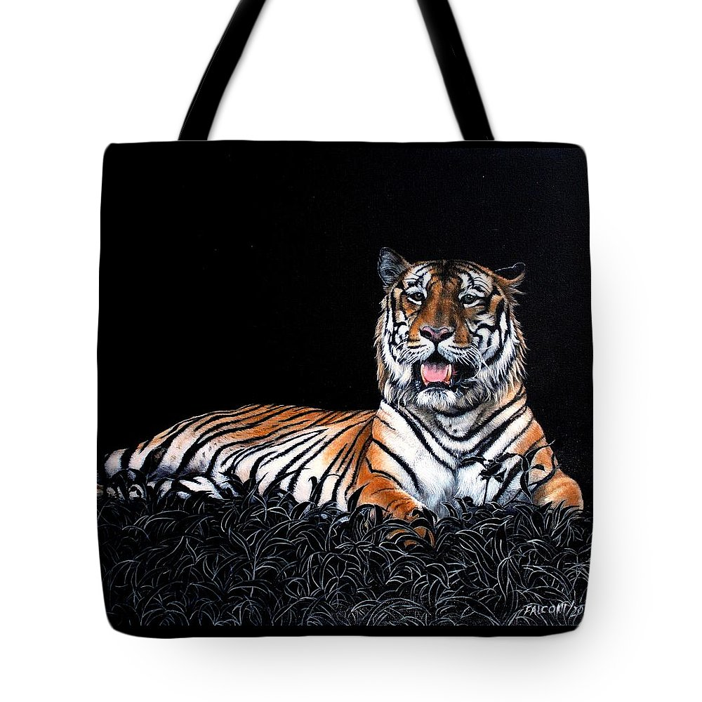 Tiger Tote Bag featuring the painting Resting Tiger by Susana Falconi