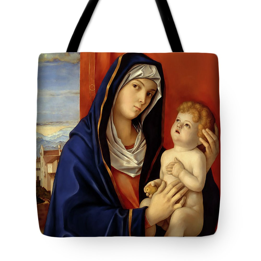 Restored Old Master Madonna And Child Giovanni Bellini Tote Bag featuring the digital art Restored Old Master Madonna And Child by Mark Higgins