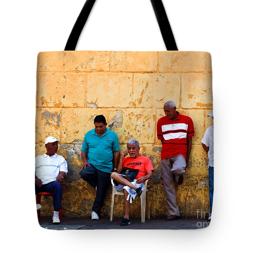 Senior Tote Bag featuring the photograph Retired Men And Yellow Wall Cartegena by Thomas Marchessault