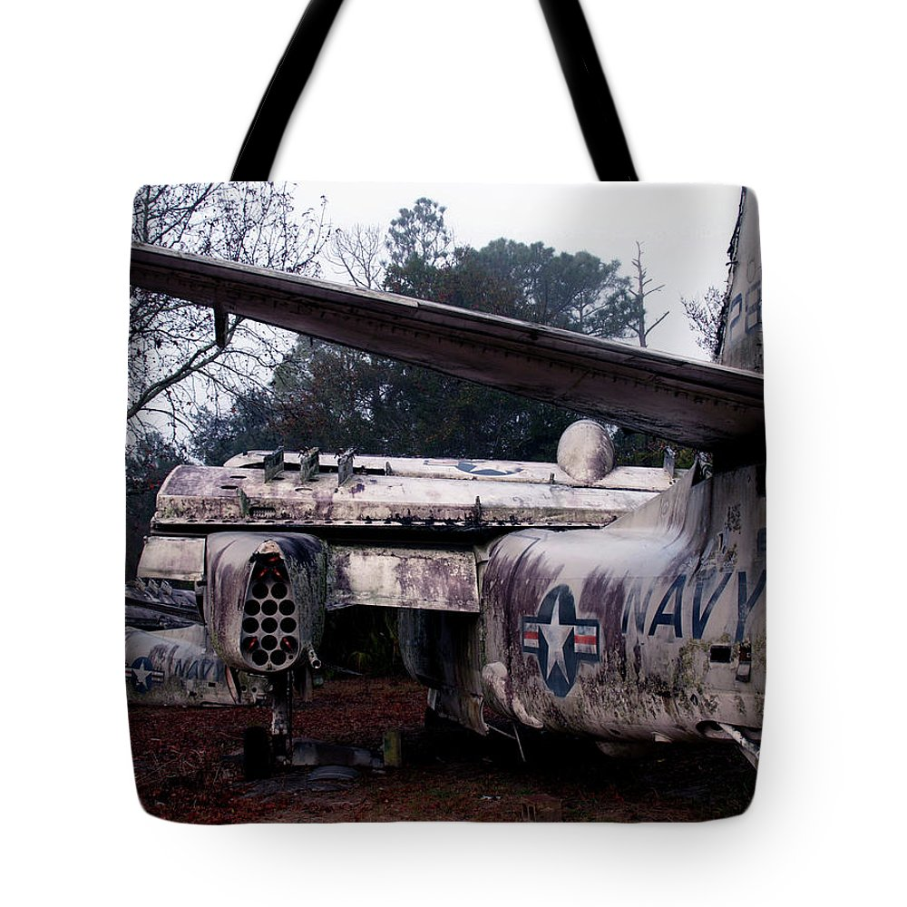 Airplane Tote Bag featuring the photograph Retired Navy by Bob Johnson