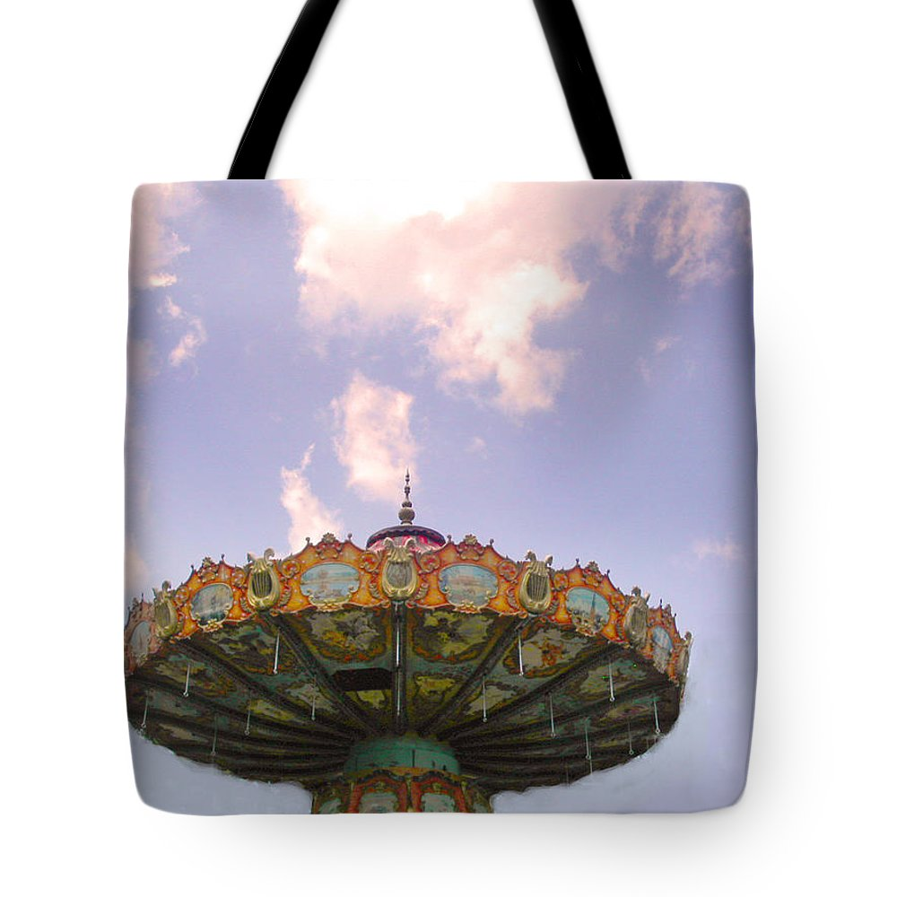 Carousel Tote Bag featuring the photograph Retired Ride In The Sky Or Ufo by Anne Cameron Cutri