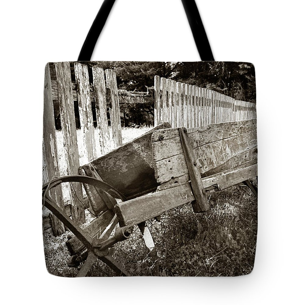 Wheelbarrow Tote Bag featuring the photograph Retired by Robert Lacy
