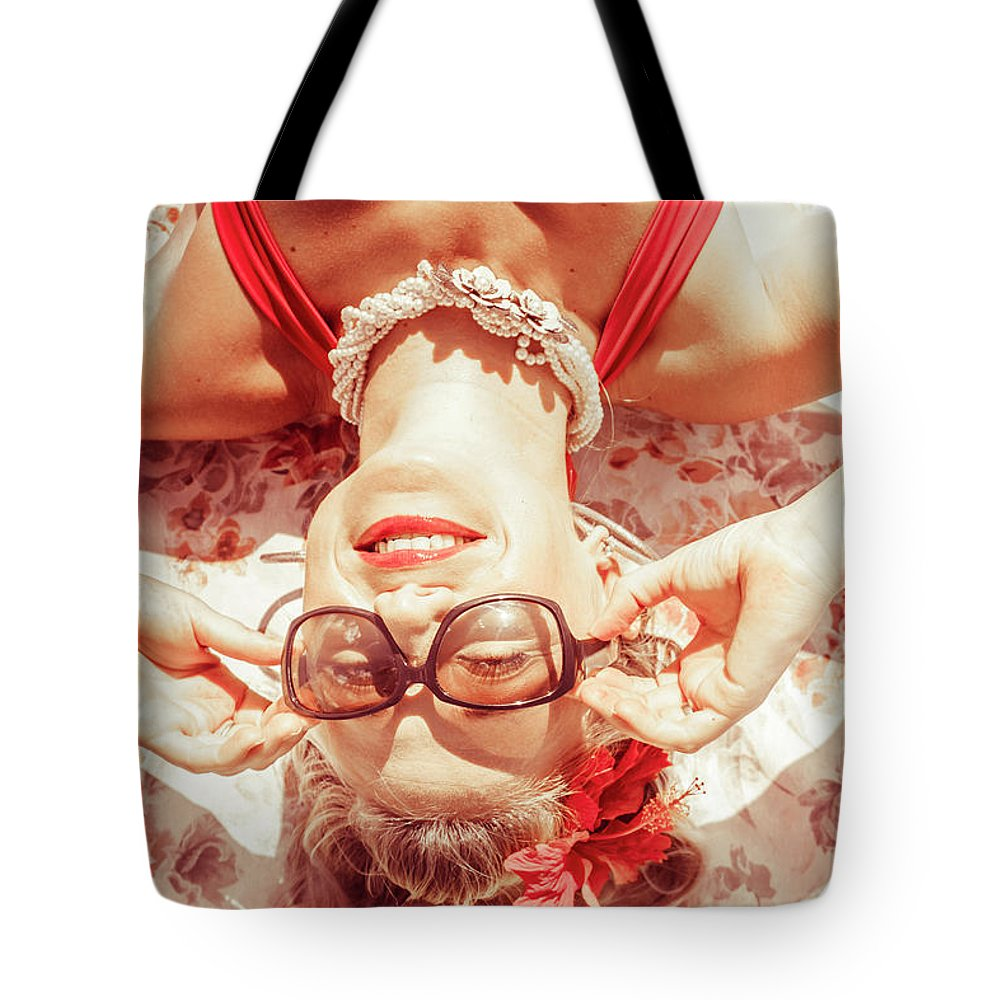 Beach Tote Bag featuring the photograph Retro 50s Beach Pinup Girl by Jorgo Photography - Wall Art Gallery