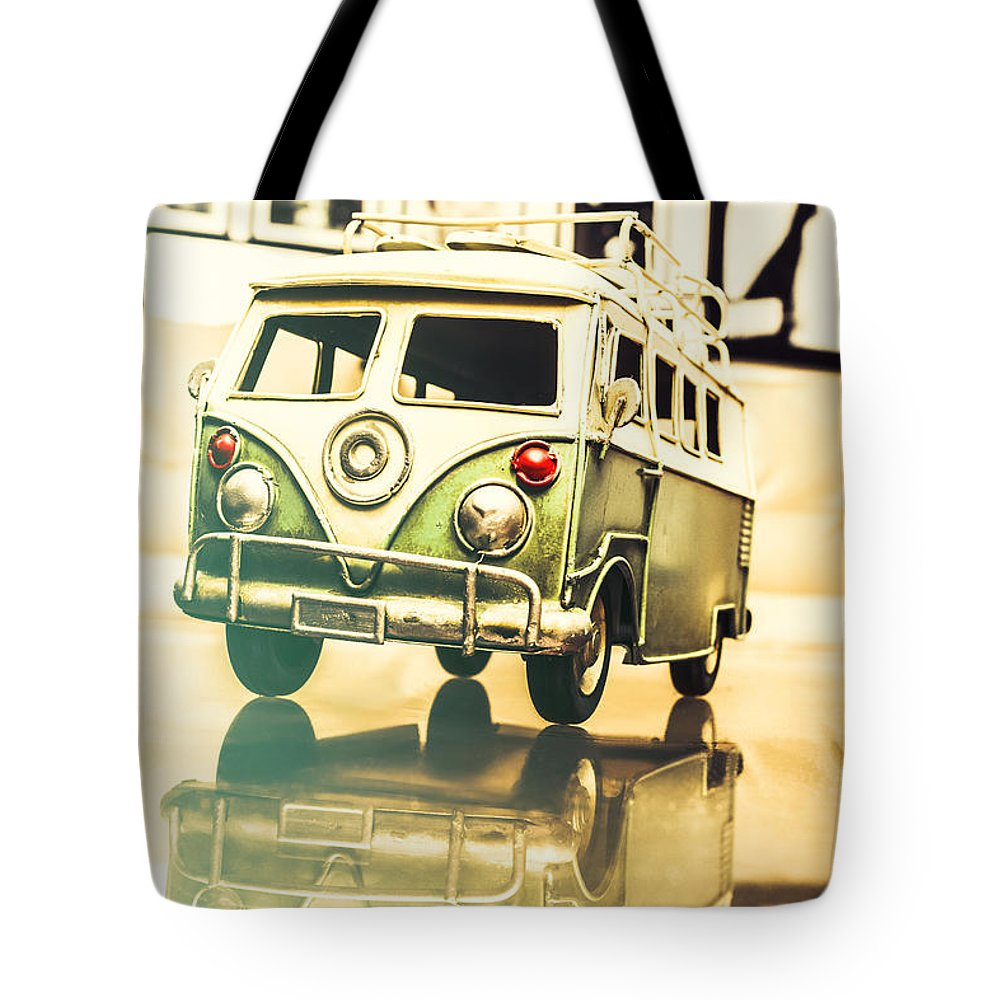 Vehicle Tote Bag featuring the photograph Retro 60s Toy Van by Jorgo Photography - Wall Art Gallery