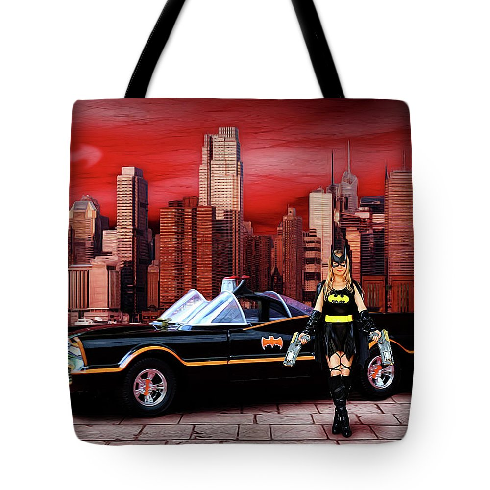 Bat Woman Tote Bag featuring the photograph Retro Bat Woman by Jon Volden