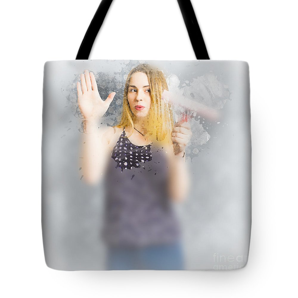 Housewife Tote Bag featuring the photograph Retro Bathroom Cleaning Duties by Jorgo Photography - Wall Art Gallery