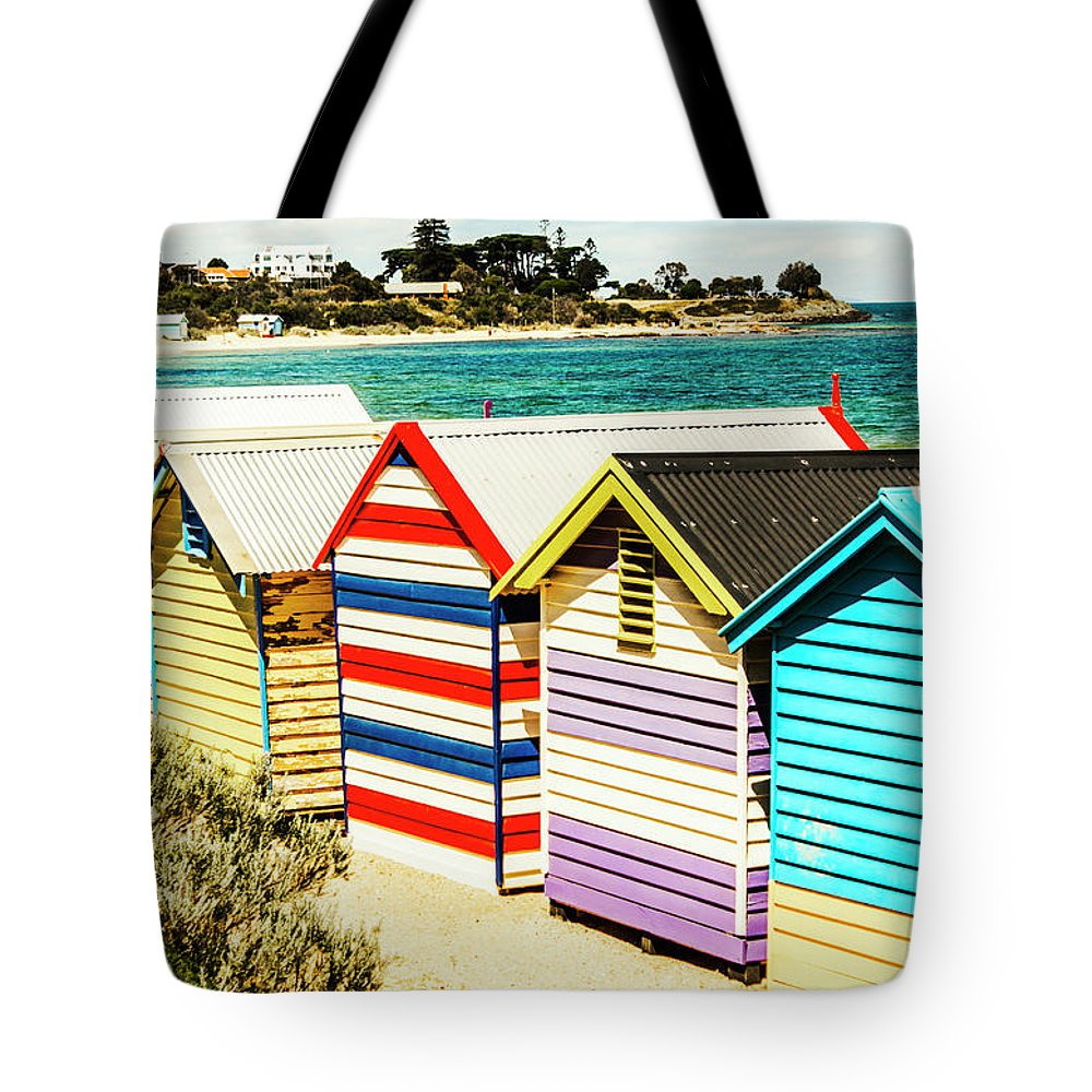 Melbourne Tote Bag featuring the photograph Retro Beach Boxes by Jorgo Photography - Wall Art Gallery