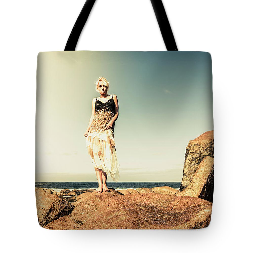 Retro Tote Bag featuring the photograph Retro Beach Fashions by Jorgo Photography - Wall Art Gallery