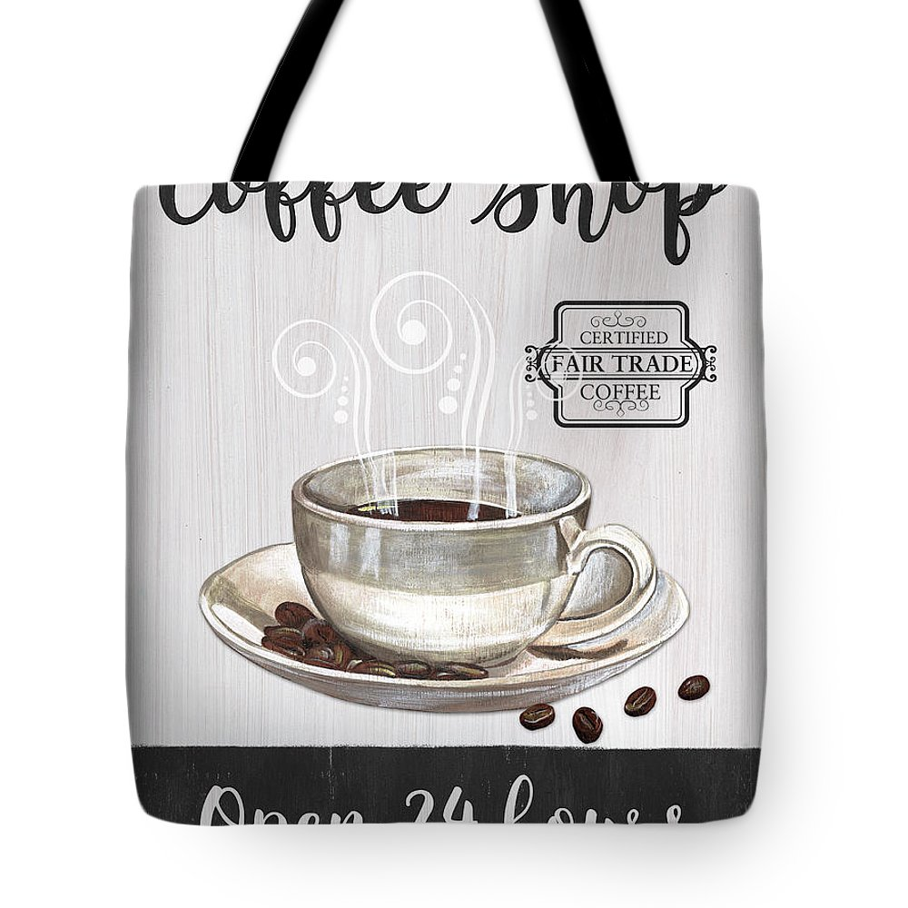 Coffee Tote Bag featuring the painting Retro Coffee Shop 1 by Debbie DeWitt
