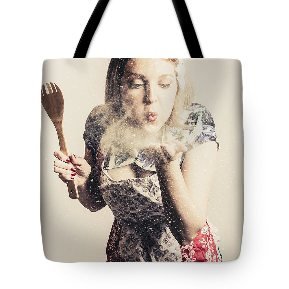 Female Tote Bag featuring the photograph Retro Cooking Woman Giving Recipe Kiss by Jorgo Photography - Wall Art Gallery