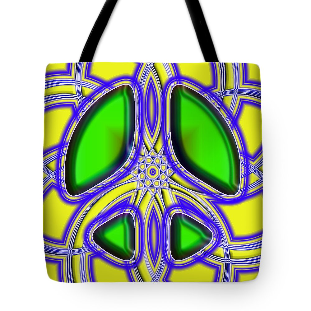 Tote Bag featuring the digital art Retro Peace Sign by David G Paul