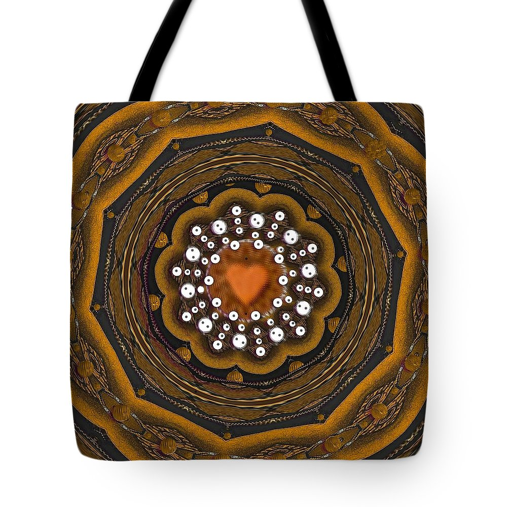 Heart Tote Bag featuring the mixed media Retro Peace With Love And A Heart Of Gold by Pepita Selles